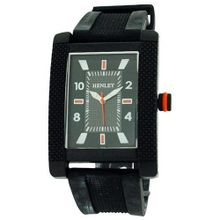 Henley Analogue Rectangular Black Dial Black Rubber Strap H02063.8