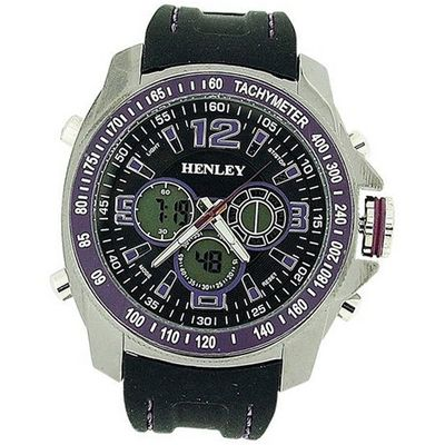 Henley Gents Ana-Dig Chronograph Backlight Black Silicone Strap HDG016.7