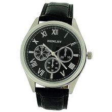 Henley Gents Analogue Chrono Effect Black Croc Dial Strap H01012.34