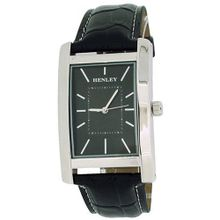 Henley Gents Analogue Textured Black Dial Black Croc Effect Strap H01011