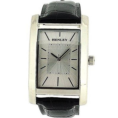 Henley Gents Analogue Textured Silver Dial Black Croc Effect Strap H01011