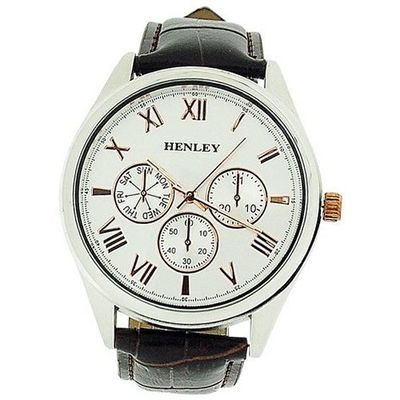 Henley Gents Chrono Effect Silver & Rose Gold Dial Brown Croc Effect Strap