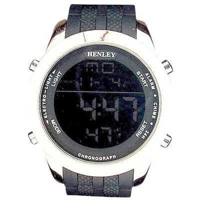 Henley Gents Digital Backlight Calendar Black Silicone Strap HDG017.14