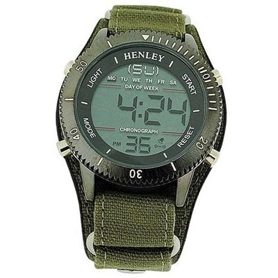 Henley Gents Digital Chronograph Backlight Green Strap Sports HDG012.11