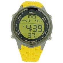 Henley Gents Digital Chronograph Backlight Yellow Rubber Strap HDG013.9