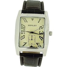 Henley Gents Elegant Cream Dial Brown Croc Effect Strap H01003.5N