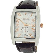 Henley Gents Two Tone Silver Dial Brown Croc Effect Strap H01003.14