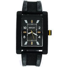 uHenley Gents Henley Analogue Rectangular Black Dial Black Rubber Strap H02063.9
