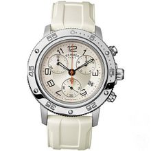 Hermes Clipper CP2.410.220/1C5 36mm Stainless Steel Case White Rubber Anti-Reflective Sapphire