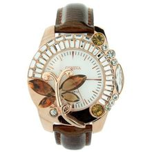 Butterfly Adorned w/ Rhinestones & snakeskin textured Strap - Brown
