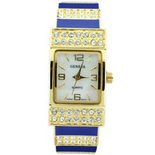 Classic Cuff Style w/ Rhinestone Accents - Navy/Gold