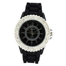 Classic Large Round Face Silicone w/ Crystal Accents - Black