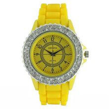 Classic Large Round Face Silicone w/ Crystal Accents- Yellow