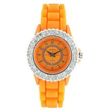 Classic Small Round Face Silicone w/ Crystal Accents - Orange