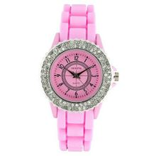 Classic Small Round Face Silicone w/ Crystal Accents - Pink