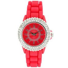 Classic Small Round Face Silicone w/ Crystal Accents - Red