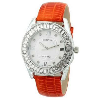 uHPW Fashion Chic w/ Rhinestones & snakeskin textured Strap - Orange/Silver