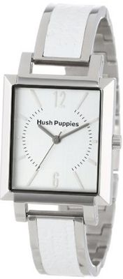 Hush Puppies HP.3616L.1501 Signature Rectangular Stainless Steel White Genuine Leather