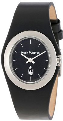 Hush Puppies HP.3790L.2502 Signature Stainless Steel Oval Black Genuine Leather
