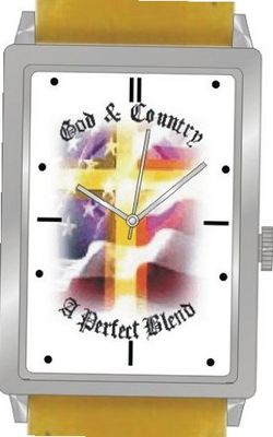 """God and Country - A Perfect Blend"" Is the Inspirational Theme on the Dial of the Unisex Size Polished Chrome Rectangle Case with Yellow Leather Strap"