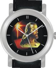 """Jesus Christ"" Is the Inspirational Image on the Dial of the Unisex Size Brushed Chrome Round Case with Black Leather Strap"