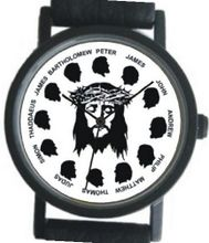 """Jesus Christ & the Twelve Apostles"" on the Dial of the Small Size Black Case with a Black Strap and Buckle"