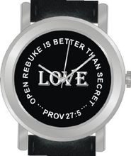 """Love"" From Proverbs 27:5 Has the Inspirational Words on the Dial of the Unisex Size Brushed Chrome Round Case with Black Leather Strap"