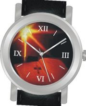 "uInspirational Time ""Bible and Cross"" Is the Inspirational Image on the Dial of the Unisex Size Brushed Chrome Round Case with Black Leather Strap"