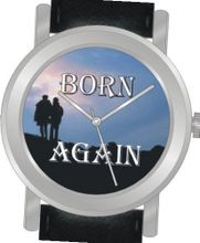 "uInspirational Time ""Born Again"" Is the Inspirational Image on the Dial of the Unisex Size Brushed Chrome Round Case with Black Leather Strap"