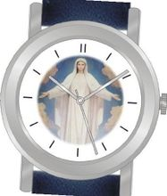 "uInspirational Time ""Virgin Mary"" Is the Inspirational Image on the Dial of the Unisex Size Brushed Chrome Round Case with Navy Blue Leather Strap"