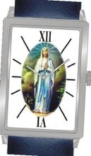 """Virgin Mary"" Is the Inspirational Image on the Dial of the Unisex Size Polished Chrome Rectangle Case with Navy Blue Leather Strap"