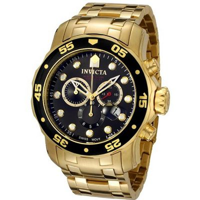 Invicta 0072 Pro Diver Collection Chronograph 18k Gold-Plated