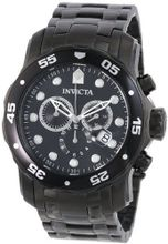 Invicta 0076 Pro Diver Collection Chronograph Black Ion-Plated Stainless Steel