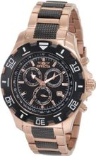 Invicta 1221 Invicta II Chronograph Black Dial 18k Rose Gold-Ion Plated Stainless Steel