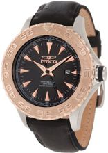 Invicta 12617 Pro Diver Black Dial Black Leather Strap