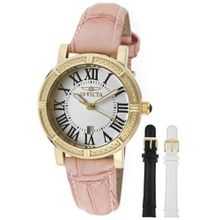 Invicta 13968 Wildflower Set Silver Dial Gold Case Pink Leather with 2 Additional Straps
