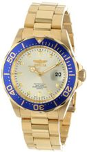 Invicta 14124 Pro Diver Gold Dial 18k Gold Ion-Plated Stainless Steel