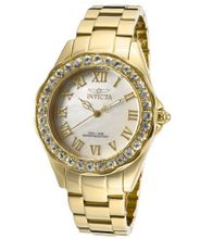 Invicta 14146 Angel White Mother-Of-Pearl Dial 18k Gold Ion-Plated Stainless Steel