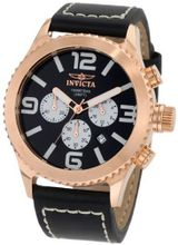 "Invicta 1429 ""II Collection"" 18k Rose Gold-Plated Stainless Steel and Black Leather"