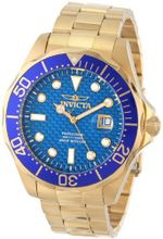 Invicta 14357 Pro Diver Blue Carbon Fiber Dial 18k Gold Ion-Plated Stainless Steel
