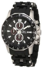 Invicta 1930 Sea Spider Chronograph Black Textured Dial Black Polyurethane