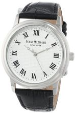 Isaac Mizrahi IMN03B Black Stainless Steel Polished Vintage Case Black Leather Strap