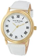 Isaac Mizrahi IMN03W White Gold Tone Polished Vintage Case White Leather Strap