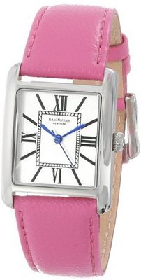 Isaac Mizrahi IMN04P Pink Steel Tank Polished Case Roman Numeral Dial Pink Leather Strap