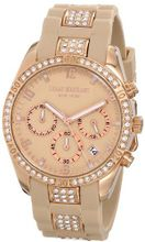Isaac Mizrahi IMN15RA Gold Tone Crystal Case Crystal Accented Apricot Silicone Strap
