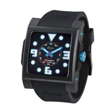 iTime Unisex Quartz with Black Dial Analogue Display and Black Silicone Strap MC4302-MC01