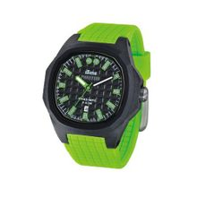 iTime Unisex Quartz with Black Dial Analogue Display and Green Silicone Strap PH4300-PHD5
