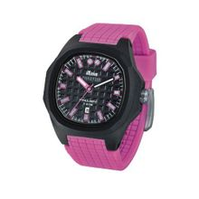 iTime Unisex Quartz with Black Dial Analogue Display and Pink Silicone Strap PH4300-PHD2