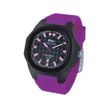iTime Unisex Quartz with Black Dial Analogue Display and Purple Silicone Strap PH4300-PHD3
