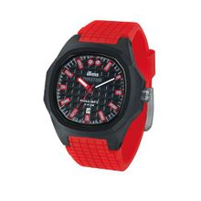 iTime Unisex Quartz with Black Dial Analogue Display and Red Silicone Strap PH4300-PHD4